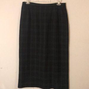 Pendleton Plaid straight skirt Navy Green EUC 16